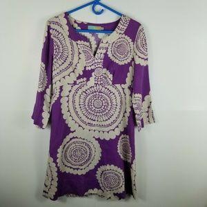 Boden Women Linen Dress Flower Print 3/4 Sleeve